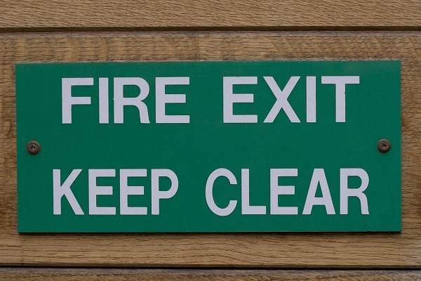 fire exit sign as part of Life Safety Code